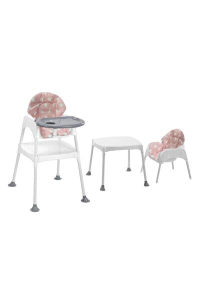 Boom Çalışma Masalı Portatif Mama Sandalyesi - Gri Pembe Yıldız