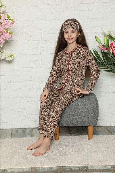 Kız Çocuk Leopar Desen Pijama Takımı Göz Bandı Dahildir