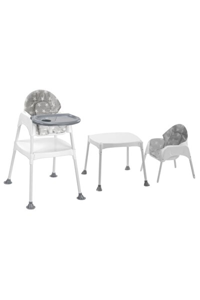 Boom Çalışma Masalı Portatif Mama Sandalyesi - Gri Yıldız