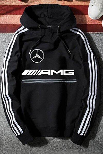 Unisex Siyah Mercedes Amg Kapüşonlu Baskılı Oversize Sweatshirt