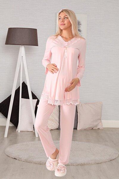 Kadın Pembe Gizli Emzirme Özellikli Lohusa Pijama Takımı 6032