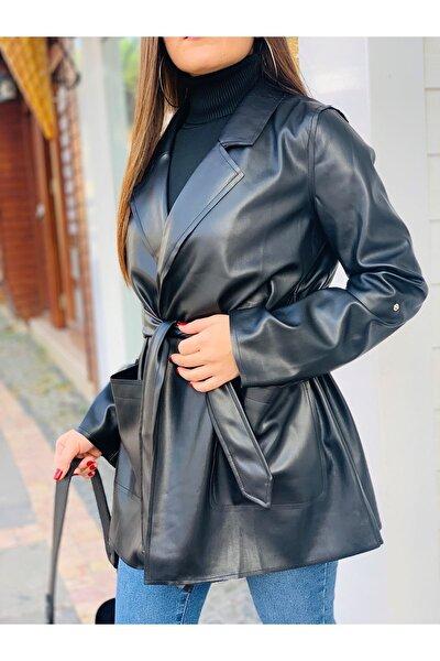 Kadın Siyah Kuşaklı Deri Ceket
