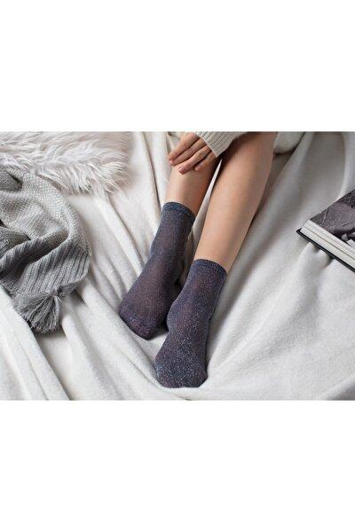Kadın Gri Simli Çorap