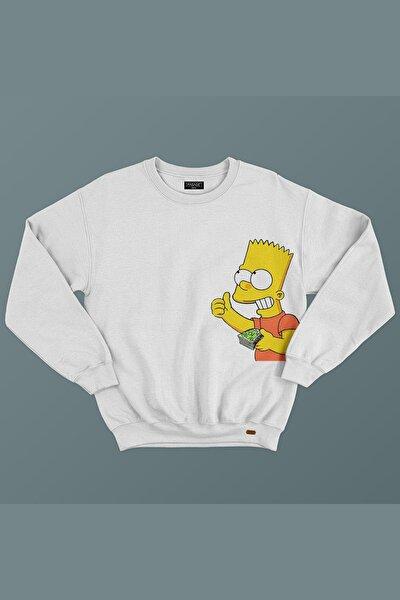 Unisex Beyaz Rich Simpson Baskılı Sweatshirt