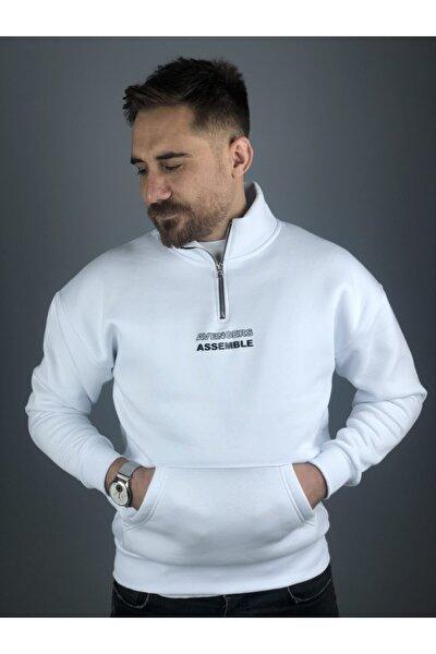 Erkek Beyaz 3 Iplik Kalın Dik Yaka Fermuarlı Sweatshirt