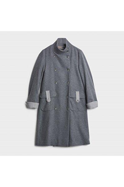 Kadın Gri Sırt Detaylı Palto