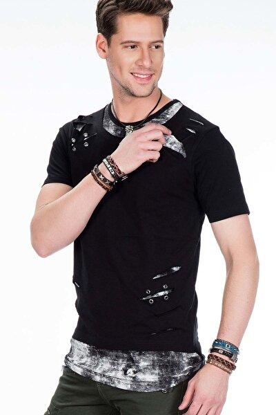Erkek Siyah İki Katlı Yırtıklı Rahat Tişört
