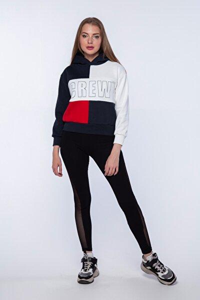 Kadın 3 Parçalı Kapüşonlu Baskılı Crop Top Sweatshirt