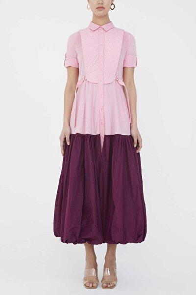 - Balon Etekli Uzun Elbise 92930 Pembe