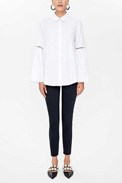 - Nakış Detaylı Poplın Gömlek 10692 Beyaz