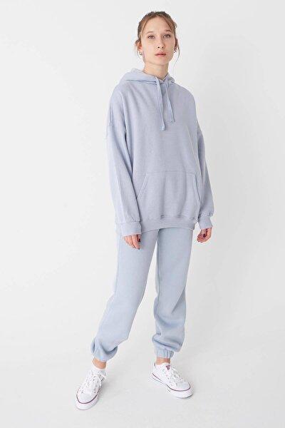 Kadın Buz Mavi Kapüşonlu Sweatshirt ADX-0000014040
