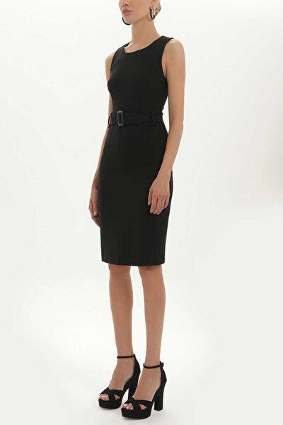 - Kemerli Likralı Elbise 91728 Siyah