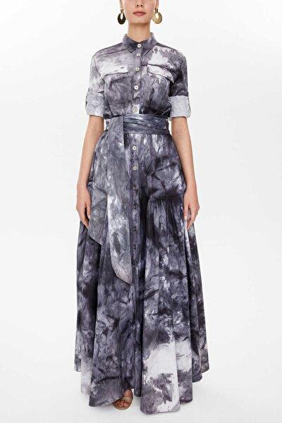- Büzgülü Gabardin Uzun Elbise 92515 Siyah