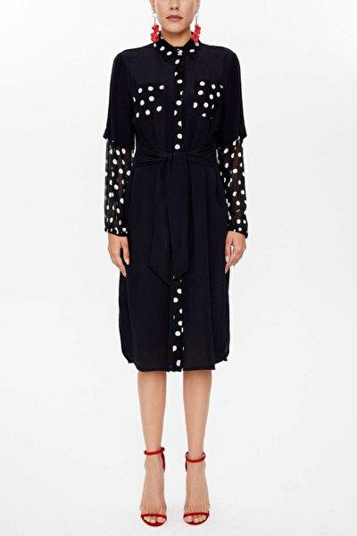 - Bagcıklı Ve Şifon Kollu Gömlek Elbise 92829 Siyah