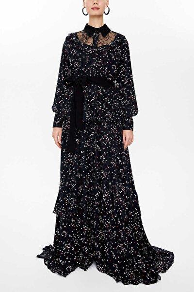 - Dantelli Ve Fırfırlı Uzun Gömlek Elbise 92963 Siyah