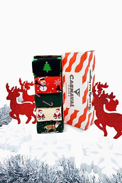5'li Yılbaşı Christmas Noel Renkli Çorap Set