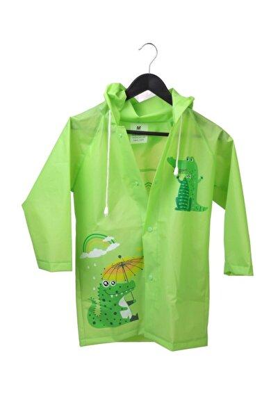 Unisex Çocuk Yeşil Cepsiz Kapüşonlu Yağmurluk