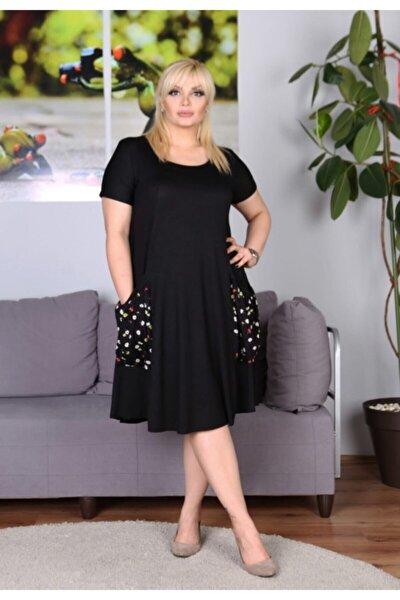 Kadın Siyah Cepli Salaş Elbise
