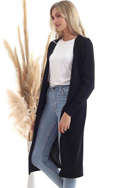 Kadın Siyah Mevsimlik Uzun Triko Hırka
