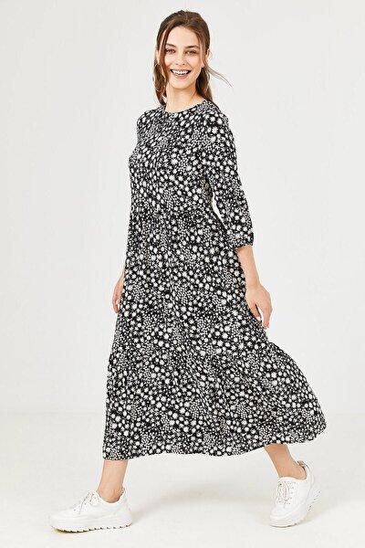 Kadın Siyah Çiçek Desenli Pileli Elbise