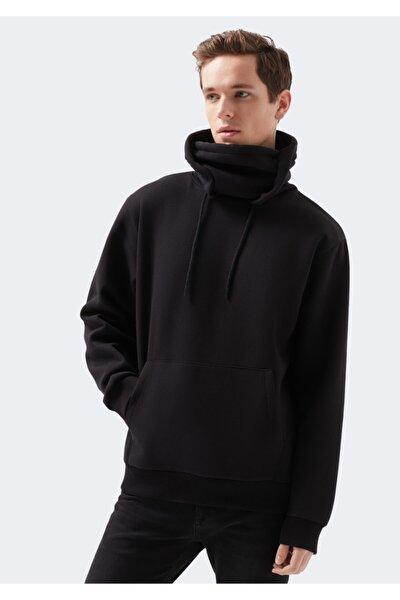 Maskeli Kapüşonlu Siyah Sweatshirt
