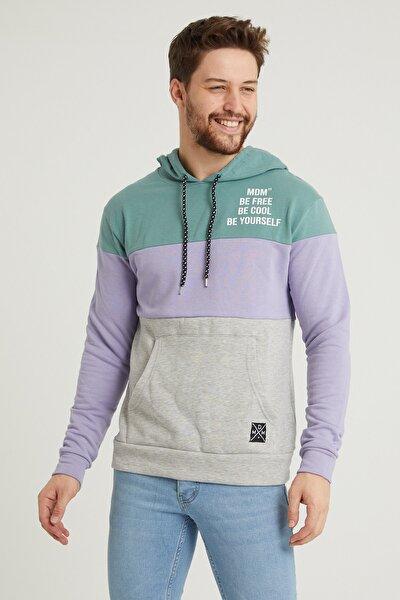 Mint Yeşili Erkek Kapüşonlu Panelli Kanguru Cepli Sweatshirt