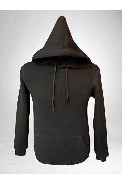 Unisex Siyah Kapüşonlu Içi Yünlü Sweatshirt