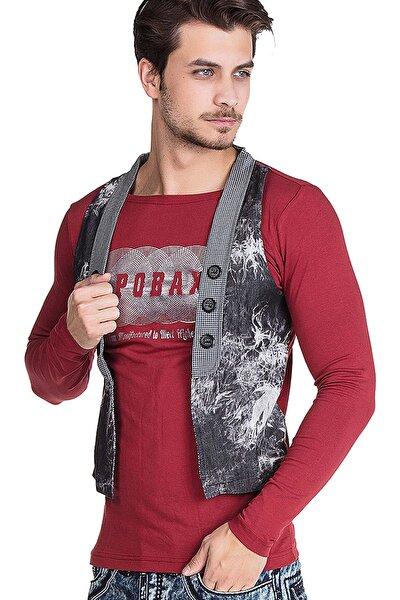 Erkek Bordo  Baskılı Yelekli Yazlık Sweatshirt