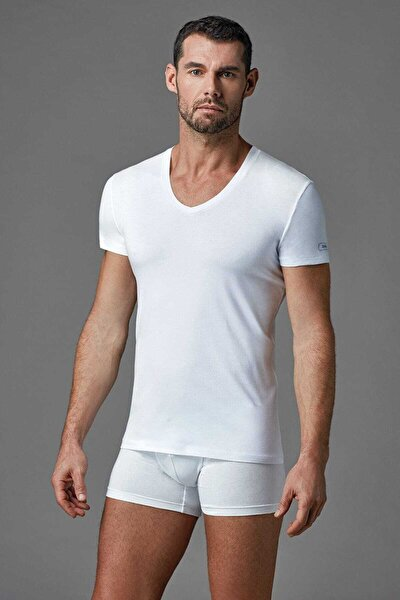 Erkek Beyaz V Yaka T- Shirt E011000370