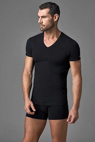 Erkek Siyah V Yaka T- Shirt E011000370