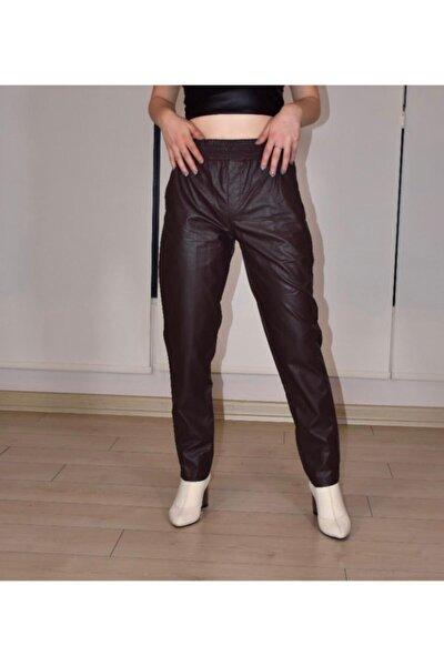 Kadın Kahverengi  Belden Lastikli Deri Pantolon