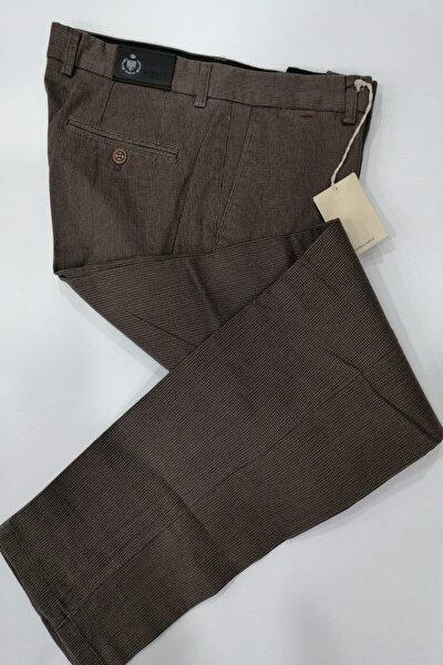 Erkek Kahverengi Regular Piti Kareli Kanvas Pantolon