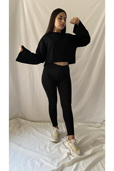 Kadın Siyah Crop Sweatshirt