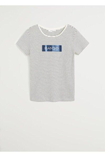 Kadın Lacivert Pamuklu Logolu Tişört 67000604