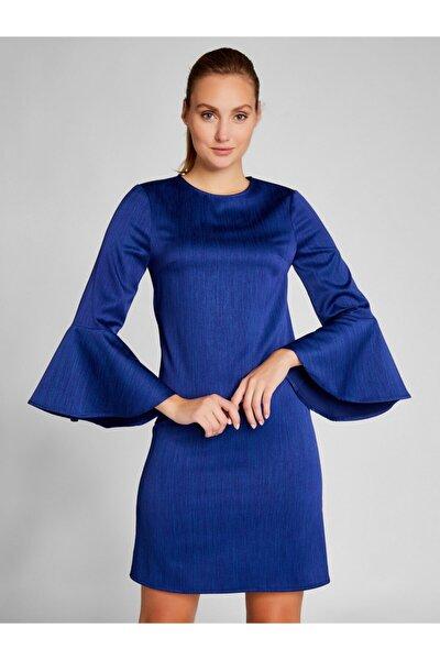 Kadın Saks Kolları Volanlı Mini Saten Elbise