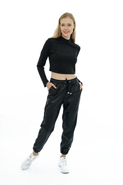 Siyah Beli Ve Paçası Lastikli Deri Pantolon