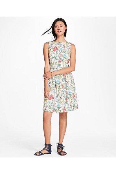 Kadın Beyaz Çiçek Desenli Iki Parça Elbise