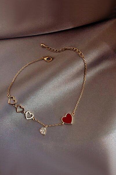 Rose Gold Kalp Motifli Zarif Gümüş Bileklik