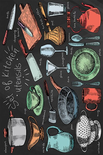 Mutfak Malzemeleri Çizimi Dijital Baskılı Halı Örtüsü Hrc1723