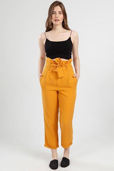 Kadın Sarı Belden Bağlamalı Duble Paça Yüksek Bel Pantolon