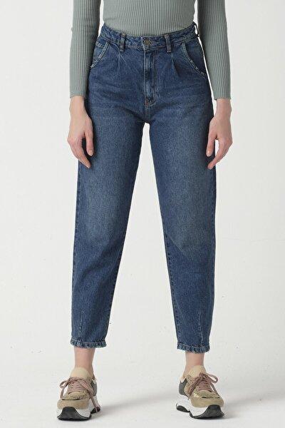 Önü Pileli Kot Tint Renk Yüksek Bel Kadın Balon Jean