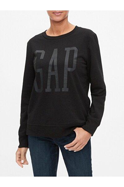 Kadın Siyah Logo Yuvarlak Yaka Sweatshirt