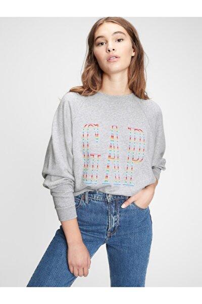 Kadın Gri Logo Yuvarlak Yaka Sweatshirt