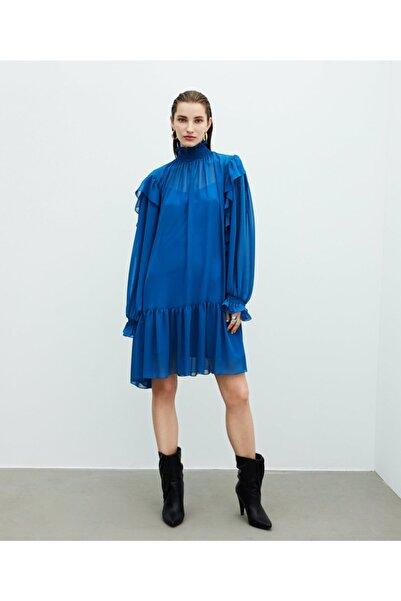 Kadın Mavi Fırfır Şeritli Elbise