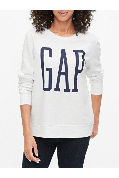 Kadın Beyaz Logo Yuvarlak Yaka Sweatshirt