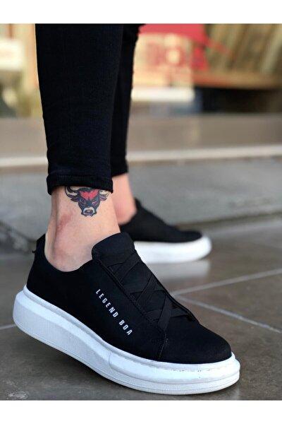 Xrm134 Bt Boa Kalın Yüksek Taban Çapraz Bant Siyah Beyaz Erkek Ayakkabı
