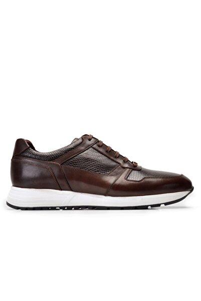 Hakiki Deri Kahverengi Sneaker Erkek Ayakkabı -10429-