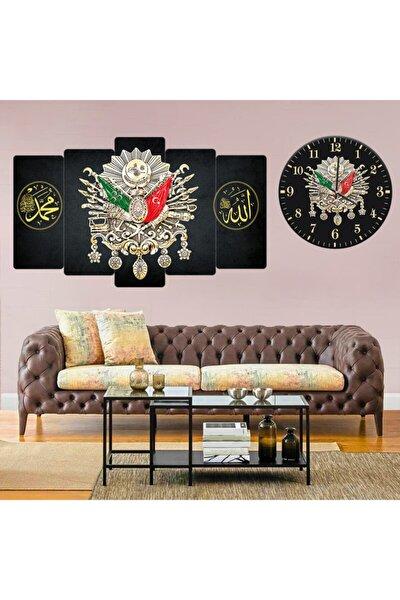 Siyah Saat Osmanlı Tuğra Allah Muhammed Motif Kombin Tablo