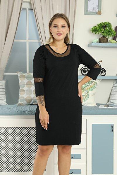 Kadın Siyah  Büyük Beden Dirsek Ve Yakası Tüllü Elbise
