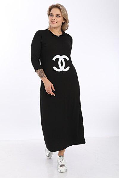 Kadın Siyah  Büyük Beden  Baskılı Elbise